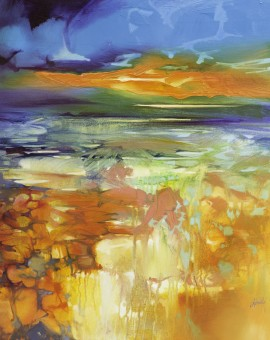 Scott-Naismth-Moulded-by-Water-Wychwood-Art-Orange-Landscape-Painting