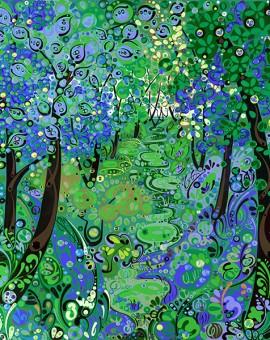 blue-woodland-print-spring-Katie-Allen-Wychwood-Art-Limited-Edition