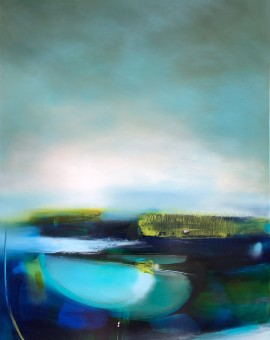 laura rich, mirror pools, oil on linen, 121cms x 91cms, contemporary landscape painting