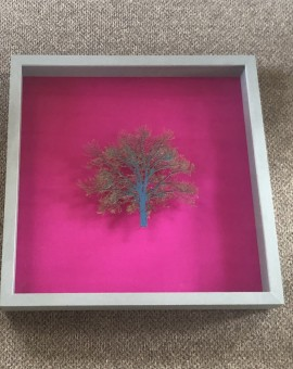 Emma Levine art for sale. Hot pink background with bright green tree sculpture, framed.