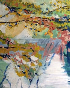 Eleanor Woolley | Through the trees | Impressionistic Oil on gesso board