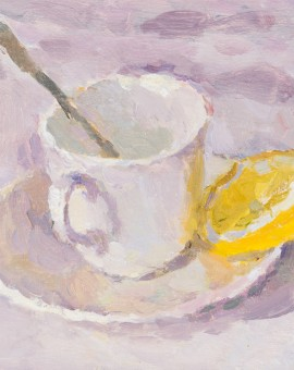 Lynne Cartlidge Teacup Lemon and spoon Wychwood Art