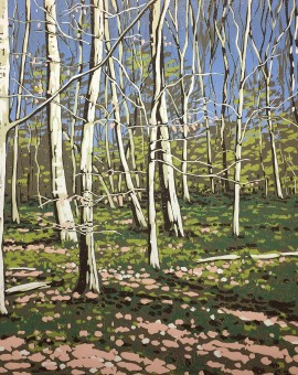 Alexandra Buckle - Beeches in Early Spring - woodland linocut print