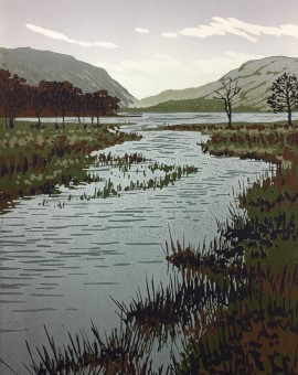 Alexandra Buckle - Buttermere View - lake district linocut print