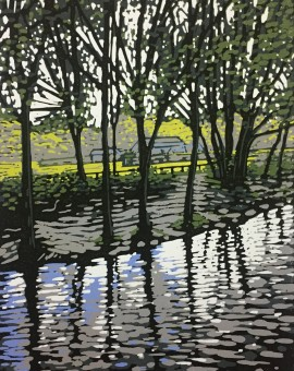 Alexandra Buckle - Grasmere River - lake district linocut print