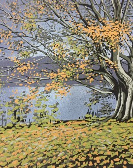 Alexandra Buckle - Grasmere Tree - lake district linocut print