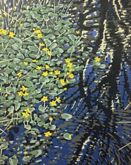 Alexandra Buckle -Marsh Marigolds - water and reflections linocut print