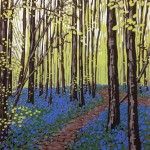 Alexandra Buckle - New Leaves and Bluebells - woodland linocut print