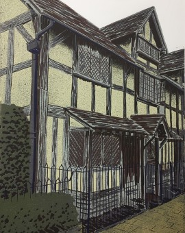 Alexandra Buckle - Shakespeares Birthplace - stratford upon avon building linocut print
