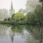 Alexandra Buckle - Stratford Reflections - stratford upon avon water reflections church linocut print