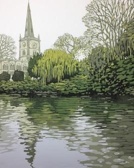 Alexandra Buckle - Stratford Reflections - stratford upon avon water reflections church linocut print