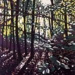 Alexandra Buckle – Summer Woodland Glow – woodland linocut print