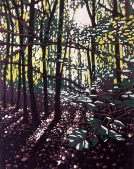 Alexandra Buckle - Summer Woodland Glow - woodland linocut print