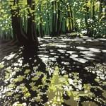 Alexandra Buckle - Summer Woodland Puddles - woodland linocut print