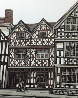 Alexandra Buckle - The Garrick Inn - tudor building stratford upon avon linocut print