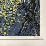 Marsh Marigold, Alexandra Buckle, Limited Edition Linocut Print, Landscape Art, Close Up