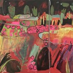Elaine Kazimierczuk Asymmetric Diptych Hot Colours in  the Merton Beds, Oxford Botanic  Gardens-r-1