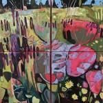 Elaine Kazimierczuk Small Polyptych Hot Colours in the  Merton Beds Oxford Botanic  Gardens-r-1