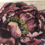 Limited Edition Vicky Oldfield Collagraph Print, Peony , Hand Finished Print, Contemporary Flower Art 5