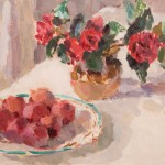Lynne Cartlidge Camellias Dish Plums Still Life Painting Wychwood Art