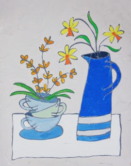 Blue Jug with Daffs - Jacky Hawthorne - Wychwood Art
