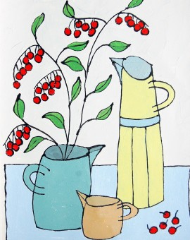 Yellow Jug with Berries - Jacky Hawthorne - Wychwood Art