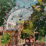 london landscape with cyclists and sun scorched grass (28th July 2018) lisa takahashi Wychwood Art