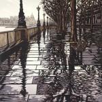 Alexandra Buckle – Southbank Puddles – london architecture linocut