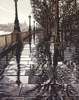 Alexandra Buckle - Southbank Puddles - london architecture linocut