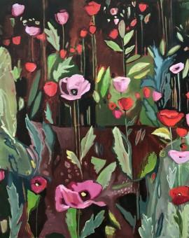 Elaine Kazimierczuk, Opium Poppies Again, Oxford Botanic Gardens, Wychwood Art