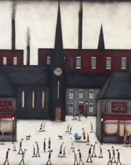 Sean Durkin art for sale online large painting Lowry style work