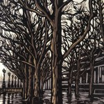 Southbank Puddles | Alexandra Buckle | Limited Edition Lino Print | Original Contemporary Art | Cityscape | Gift Art