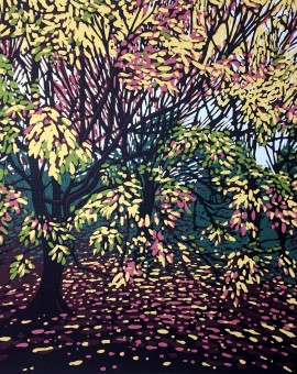 Alexandra Buckle -Autumn Tree Blush - woodlands pink leaves