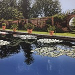 Alexandra Buckle – Claydon Pond Reflections – water lilies walled garden reflections