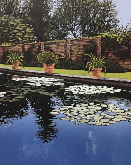 Alexandra Buckle - Claydon Pond Reflections - water lilies walled garden reflections