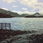 Alexandra Buckle – Grasmere View – water lake disctrict mountains linocut print