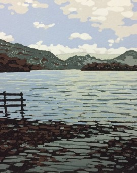 Alexandra Buckle - Grasmere View - water lake disctrict mountains linocut print