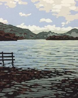 Alexandra Buckle - Grasmere View - water lake disctrict mountains linocut print