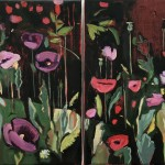 Diptych Opium Poppies at the Oxford Botanic Gardens-r