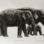 Jane Peart, Family Gathering, Elephant Art, Family Art, Etching 11