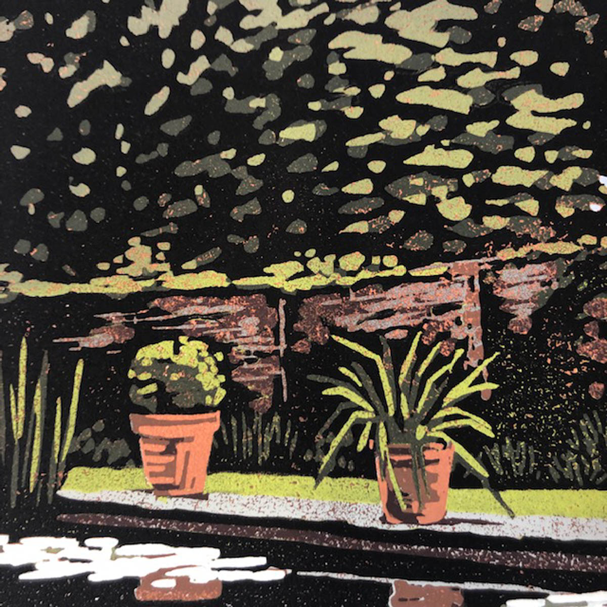 Claydon Pond Reflections. Alexandra Buckle's style places a funky twist by on landscape by using lino printing as her medium.