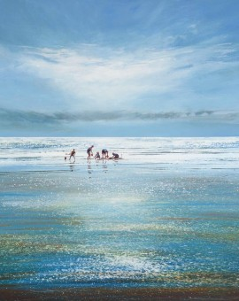 michael-sanders_a-busy-day-at-the-beach-Wychwood-Art-Seascape-Beach-Art