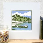 A+Bay+in+CornwallA+Bay+in+Cornwall-Fiona Carver-Limited edition print -Linocut print - Wychwood art 3