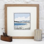 Deckchairs+at+Exmouth – Fiona carver – Limited edition print-lino cut print – Wychwood art