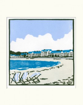 Deckchairs+at+Exmouth - Fiona carver - Limited edition print-lino cut print - Wychwood art.jpg 2
