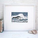 Fiona Carver Wave 1 framed linocut wychwood art