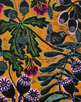 KateHeiss_HolkhamWalkYellow_Holkham_Wren_Birds_Autumn_Oak_Print_Norfolk_WychwoodArts