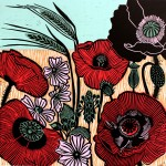 KateHeiss_WildPoppies-Linocut_landscape_poppies_barley_WychwoodArts