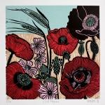 KateHeiss_WildPoppies-Print_linocut_popies_poppy_cornfield_Landscape_WyvhwoodArts