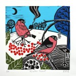 KateHeiss_WinterFeast-bullfinch_birds_WychwoodArt
